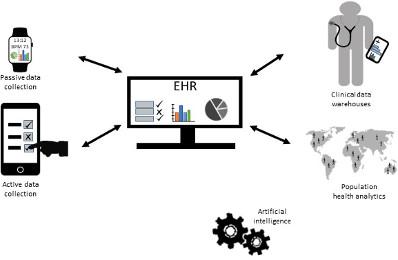 Die Zukunft der digitalen Medizin wird höchstwahrscheinlich auf mehreren interoperablen elektronischen Datenbanken basieren, wobei die patientenkontrollierte elektronische Gesundheitsakte (Electronic Health Record, EHR) im Mittelpunkt stehen wird. Passive und aktive Datenerfassungsgeräte werden vom Patienten genutzt und führen die Daten kontinuierlich in das EHR ein. (Beachten Sie, dass die Uhr in der Abbildung für viele verschiedene Datenerfassungsmöglichkeiten steht, auch für Systeme, die sich nicht am Körper befinden.) Clinical Data Warehouses sind Datenbanken, die medizinisches Fachpersonal bei der klinischen Entscheidungsfindung und Patientenversorgung in Echtzeit unterstützen. Populations Health Analytics unterstützt die gesundheitsbezogene Entscheidungsfindung durch Bereitstellung von Risiko- und Vorhersagemarken. Analysestrategien innerhalb und zwischen Datenbanken basieren hauptsächlich auf Algorithmen künstlicher Intelligenz.